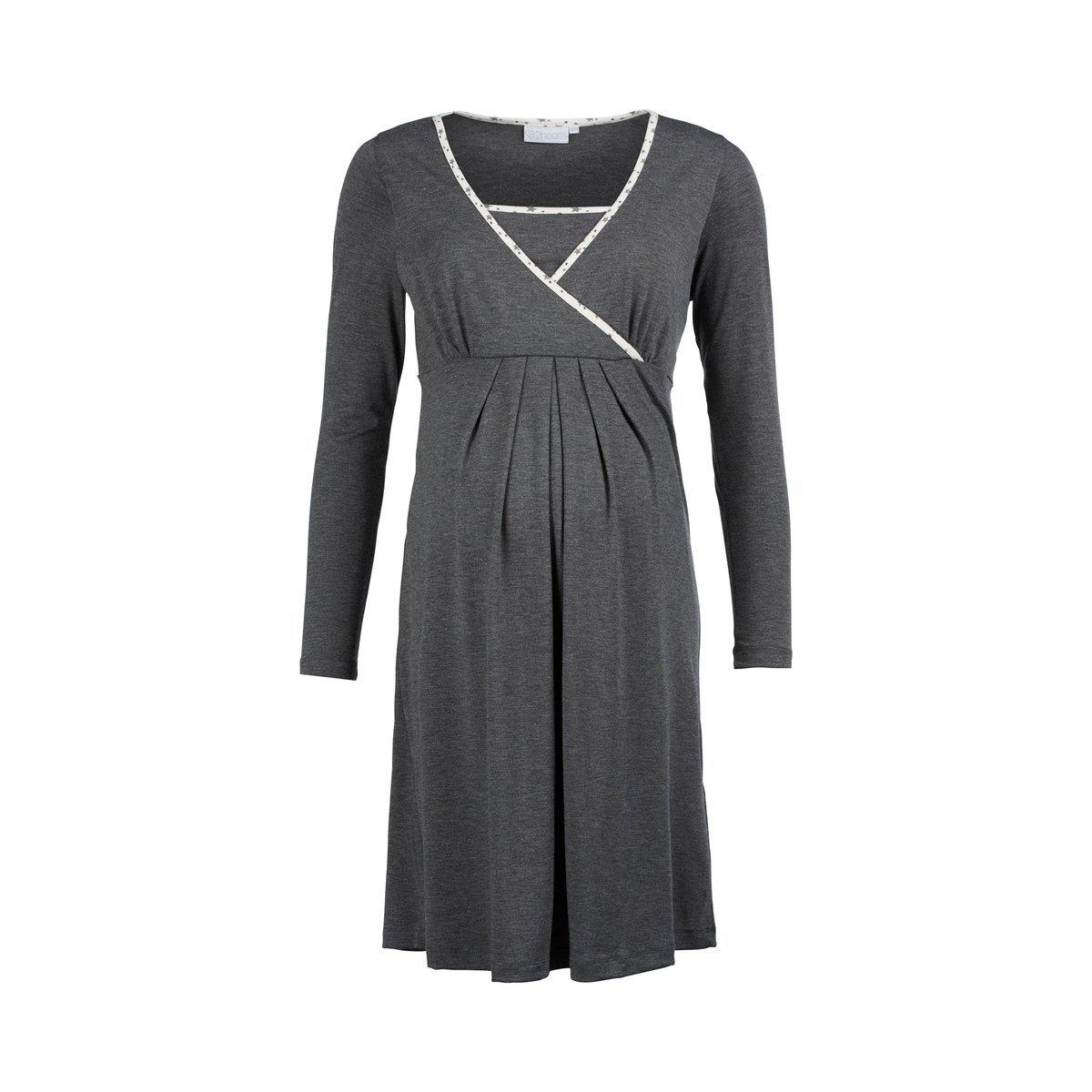 2HEARTS We love basics Still-Nachthemd langarm grau/Damen Schlafanzug/Nachtkleid / Sleepshirt
