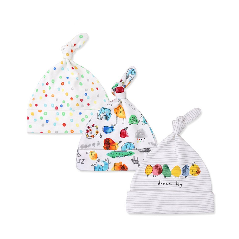 Kissababy 3-Pack Newborn Baby Beanie Hats Cotton Adjustable Knot Cap Cotton Knit Caps HK32