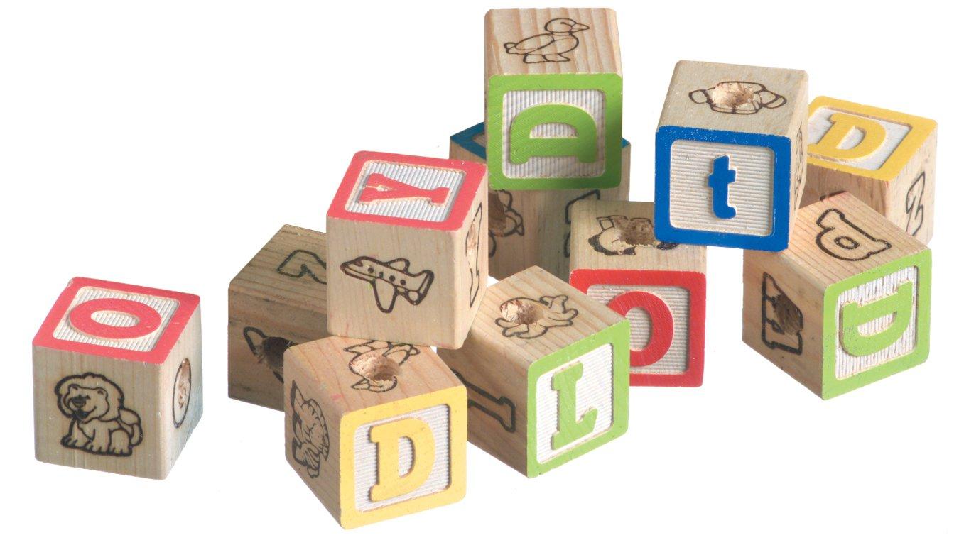 Super Bird Creations 1-1/4-Inch Alphabet Blocks, 12-Pack