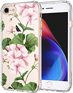 MOSNOVO White Geraniums Floral Flower Pattern Designed for iPhone SE 2020 Case/Designed for iPhone 8 Case/Designed for iPhone 7 Case - Clear