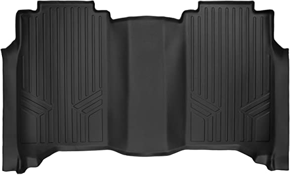SMARTLINER Floor Mats 2nd Row Liner Black for 2017-2018 Nissan Titan 2016-2018 Titan XD Crew Cab with 1st Row Bench Seat