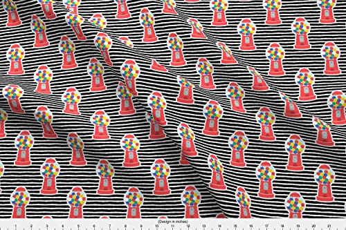 (Spoonflower Bubble Gum Fabric - Bubble Gum Gumball Machine Little Arrow Red Stripes Cute Candy Littlearrowdesign Printed on Kona Cotton Ultra Fabric The Yard)