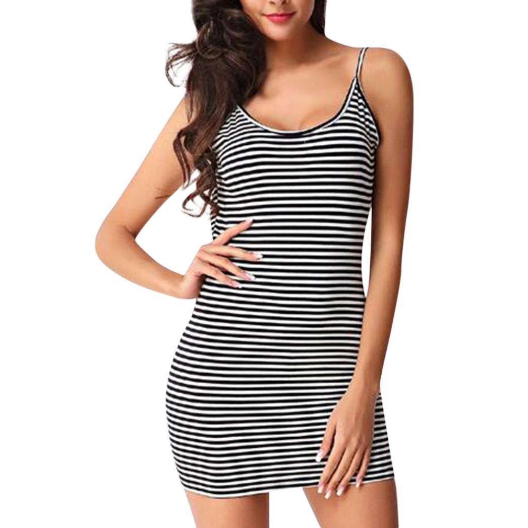a87f35d1a6a Amazon.com  Gyoume Women Miniskirt Dress Halter Cami Dress Bodycon Dress  Summer Striped Dress  Clothing