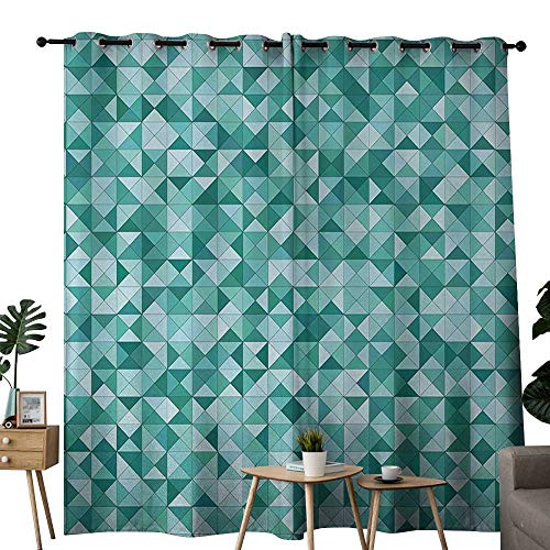 (NUOMANAN Window Curtains Teal,Triangle Mosaic with Polygon Shapes Decorative Lights Shadows Effect Illustration,Teal Green,Tie Up Window Drapes Living Room 120