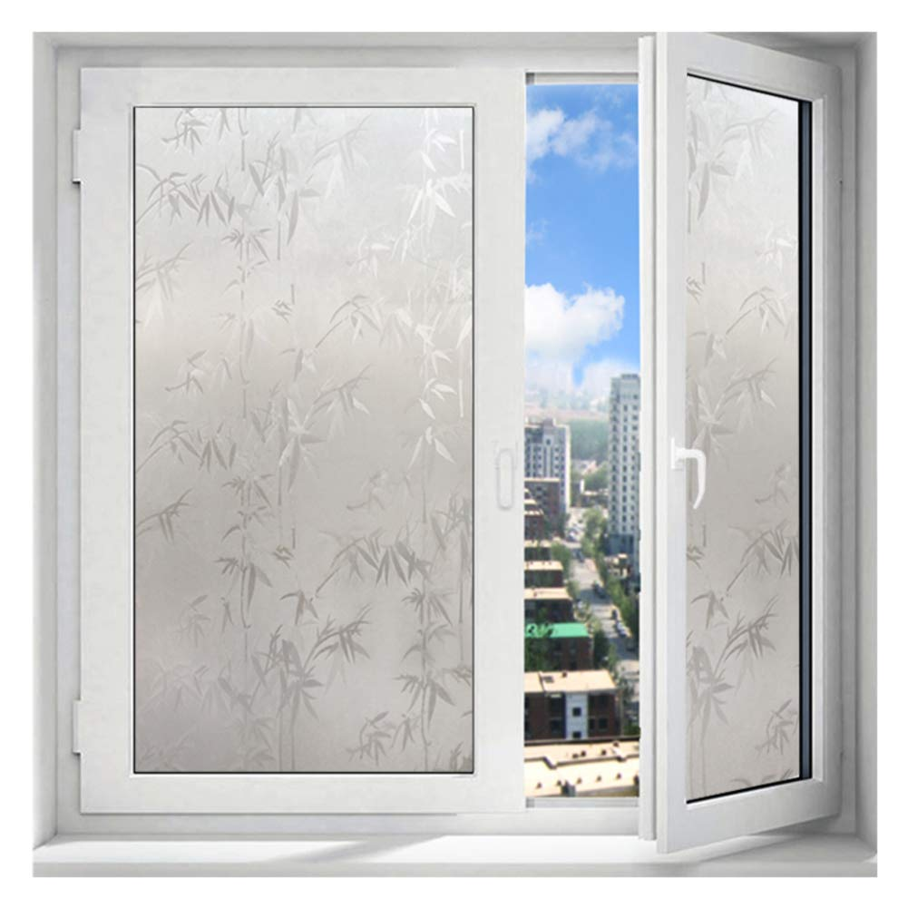 DENG&JQ with Glue Matte Glass Film, Bamboo Leaves Stickers Windows Sliding Door Balcony Glass Translucent Self-Adhesive Glass Stickers-a W90xl500cm(35x197inch) by DENG&JQ