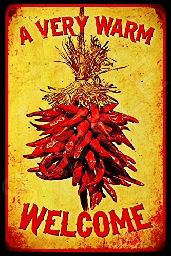(Retro A Warm Welcome Sign Chilli Pepper Distressed All Weather 8 x 12 inch Metal Sign Rustic Cabin Western Southwest Motif Decor New Mexico Santa Fe Red Chili Ristra)