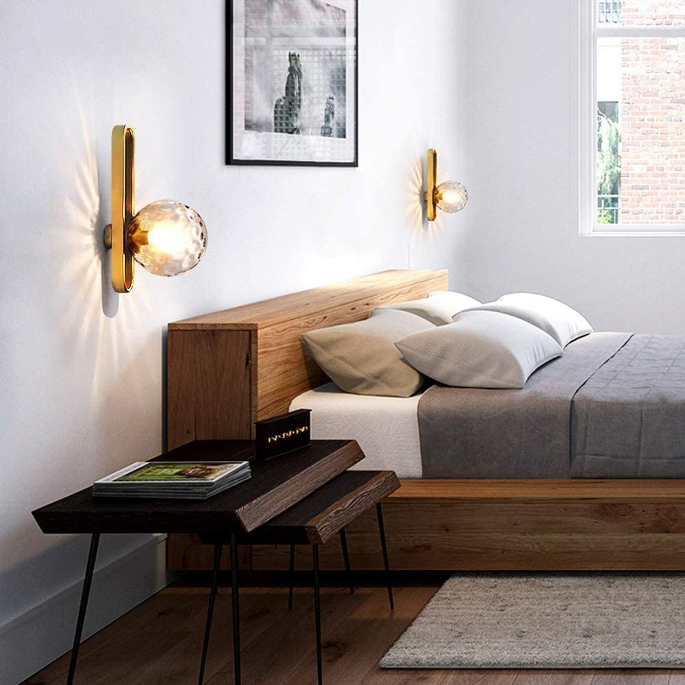 Vintage Brass Sconces 15cm passend for Loft Schlafzimmer Nacht Spiegel Scheinwerf Nordic Minimalist Klar Globe Lampshade LED Wandleuchte E27 // E26 Lampenfassung Wasser-Glas-Wandleuchte Wandleuchte