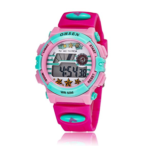 Zeiger Reloj digital de cuarzo infantil, con correa de silicona, deportivo, con alarma e iluminación, color rosa: Amazon.es: Relojes