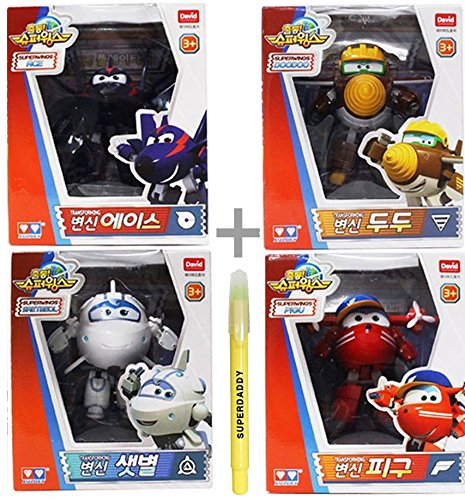 Super Wings Season 2 Transforming Robot 4 Packs - Airplane Robot Action Figure + SuperDaddy Highlighter (Gift)