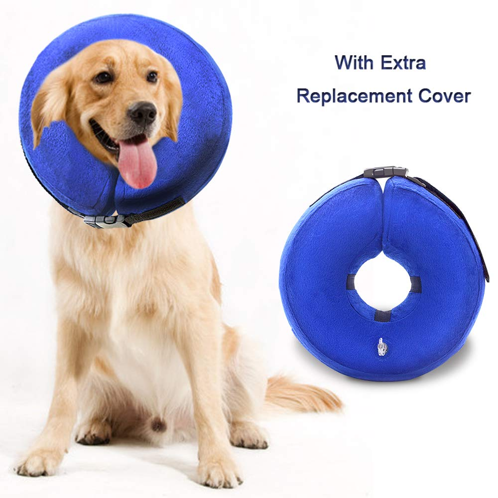 Wellbro Dog Cone Collar, Soft and Inflatable Dog Comfy Cones After Surgery, Adjustable Pet Recovery Collar with Extra Velvet Cover, Protective E-Collars with Buckle for Dogs and Cats (Large, Blue) by Wellbro