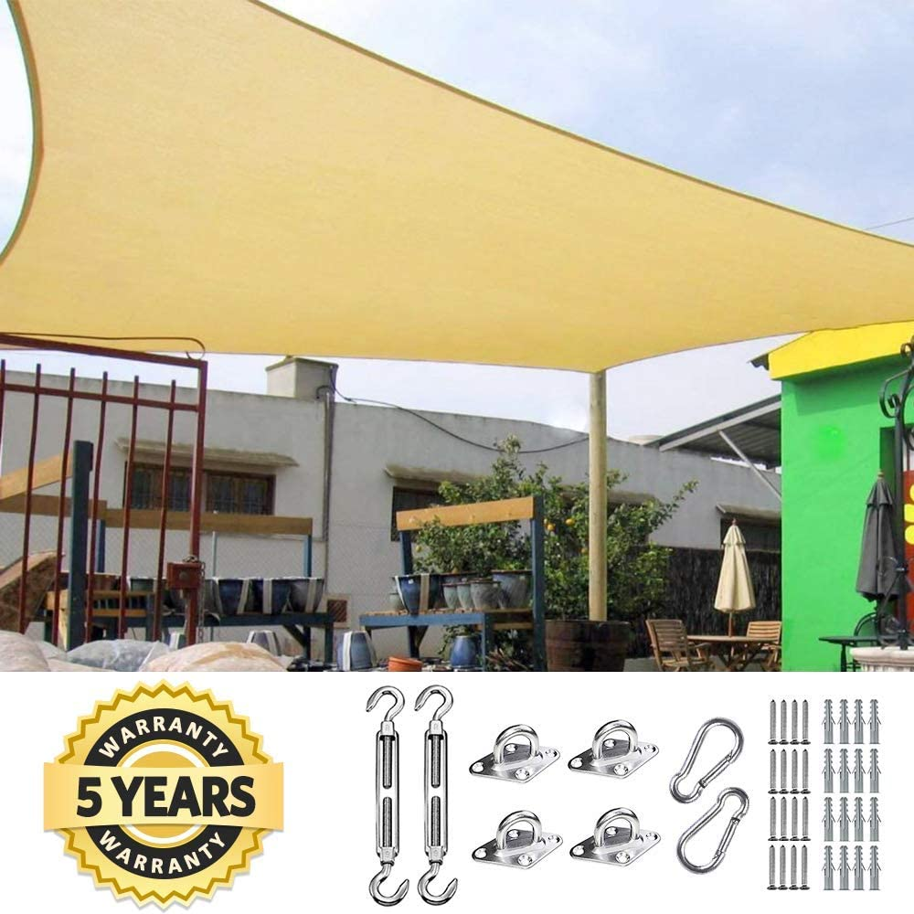Quictent 185G HDPE Square Sun Shade Sail Canopy 98 UV Block Outdoor Patio Garden with Free Hardware Kit 24X24FT, Sand