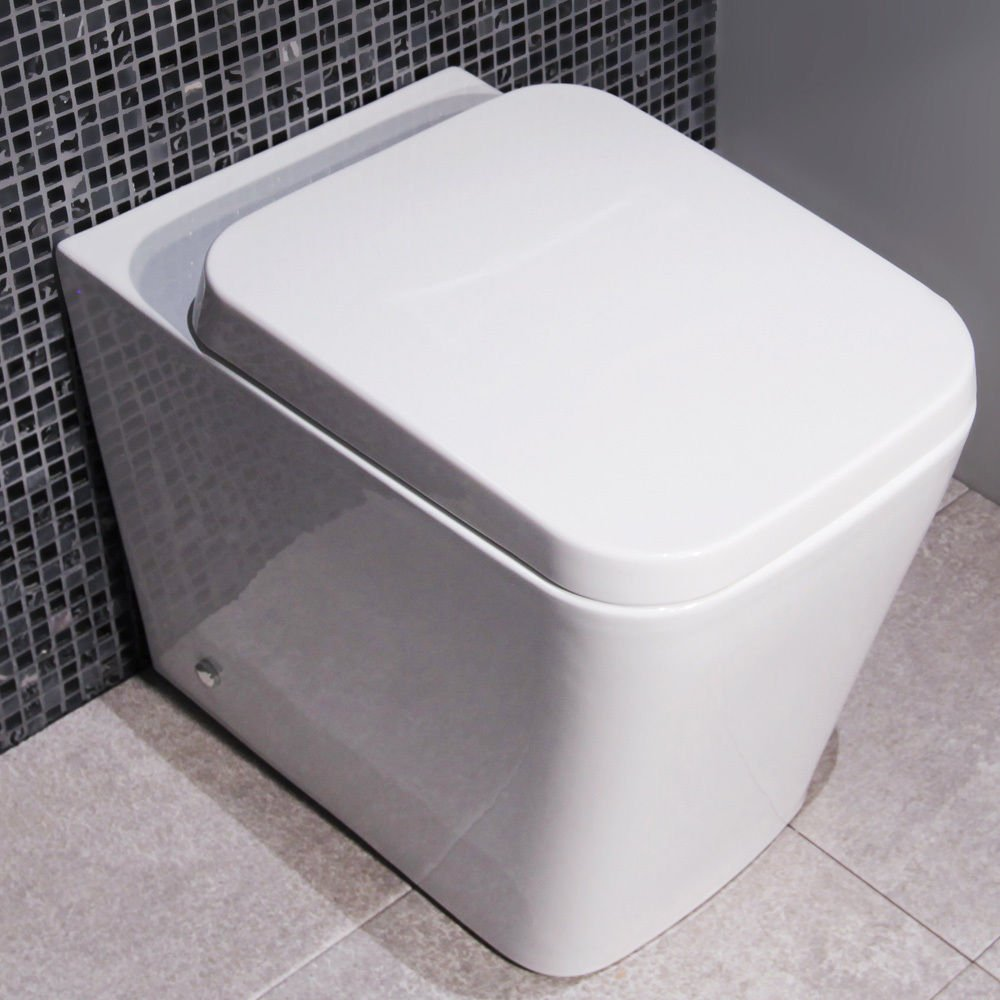 Square WC Toilet Pan Back to Wall Ceramic White Modern Better Bathrooms Outlet