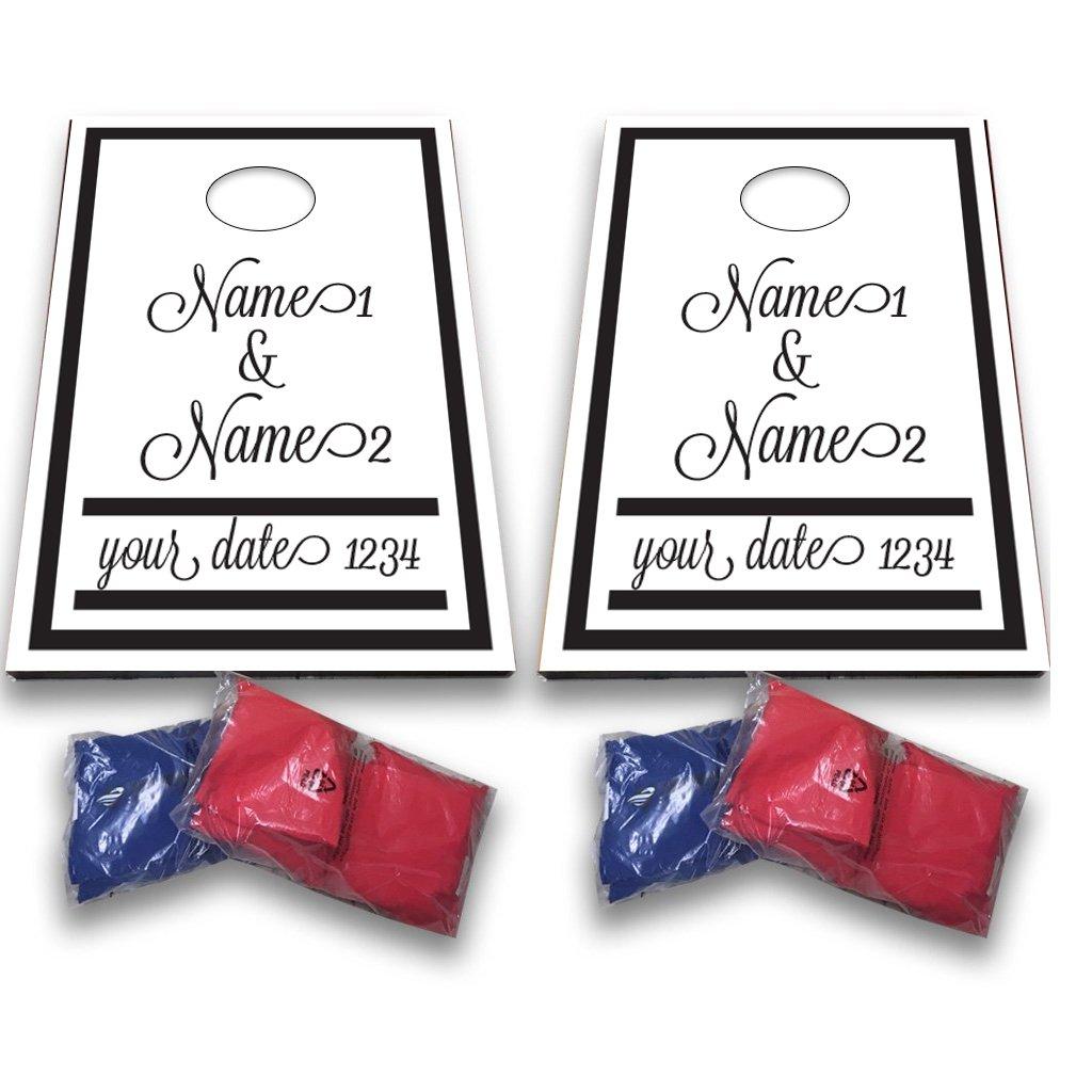 VictoryStore Custom Wedding Bag Toss Game – Custom Wedding Cornhole - Black and White