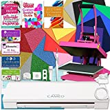 "Silhouette Cameo 3 Bluetooth Heat Press T-Shirt Bundle with 9""x12"" Pink Heat Press, Siser Vinyl, Swatch Book, Profit Guide, HTV Guides, Class, Membership and More"