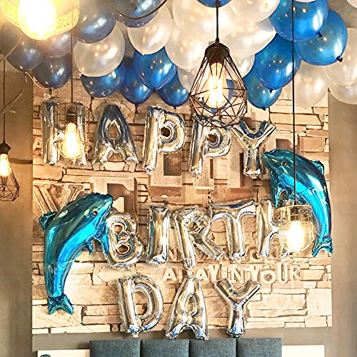 LUCK COLLECTION Happy Birthday Balloons Decoration Kits, Blue Ocean Themed Dolphin Balloons for Birthday Party Supplies 63 PACK