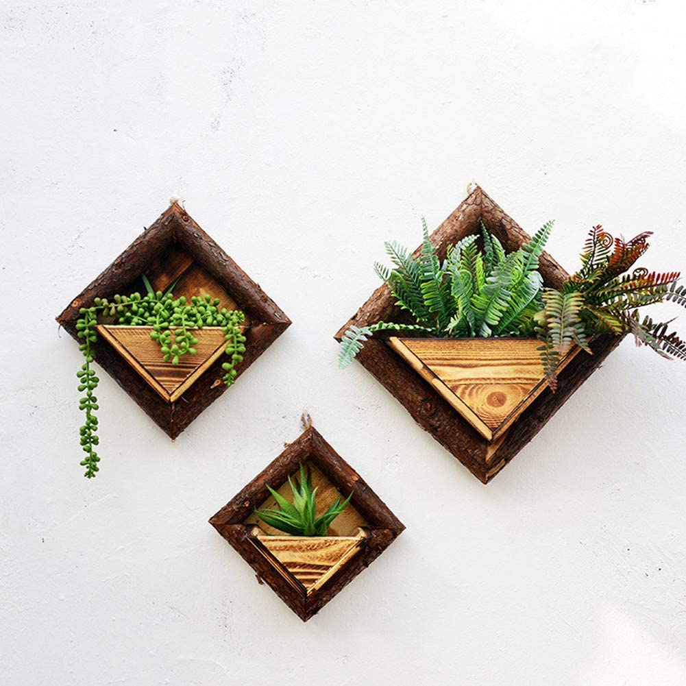 Amazon Com Zyezi Diamond Wooden Wall Planter Hanging Vase Plant Holder Indoor Vertical Container Wall Hanging Home Decor Home Kitchen