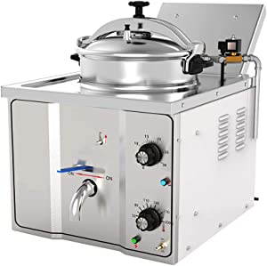 zorvo Commercial Electric Pressure Fryer,16L Cooking Countertop Deep Fryer,2400W Professional Tabletop Restaurant Kitchen Frying Machine Commercial Countertop Fryer Restaurant Frying Fish Chicken【US】