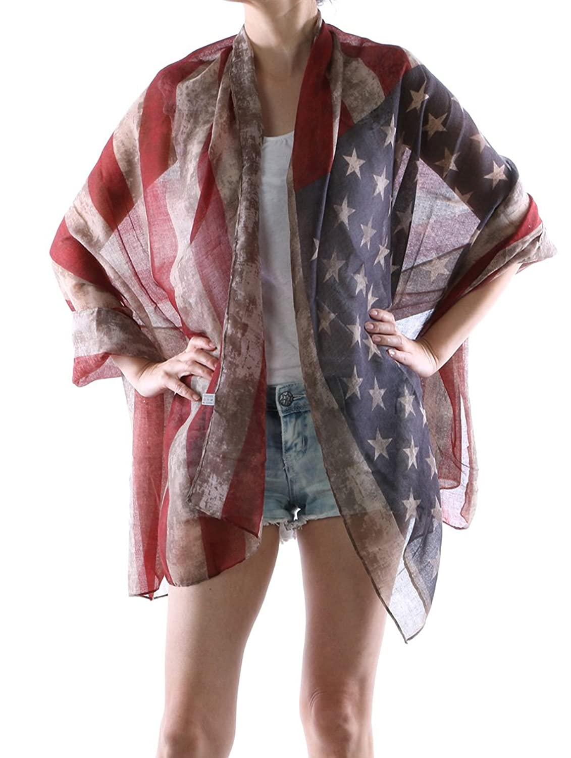 Parisian Chic Scarf Stars And Stripes Frayed Edge Distressed American Flag Red White And Blue X Viscose One Size Multi