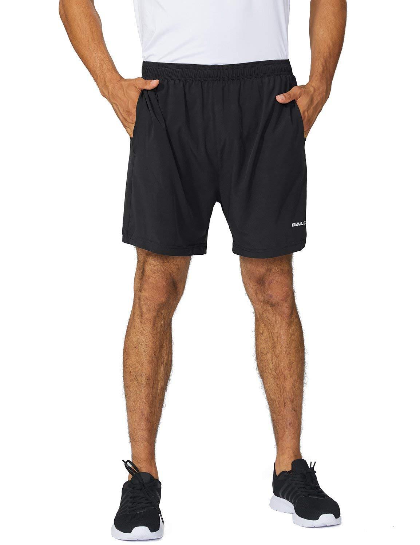 Baleaf Men's 5 Inches Running Athletic Shorts Zipper Pocket Black Size XXXL by Baleaf