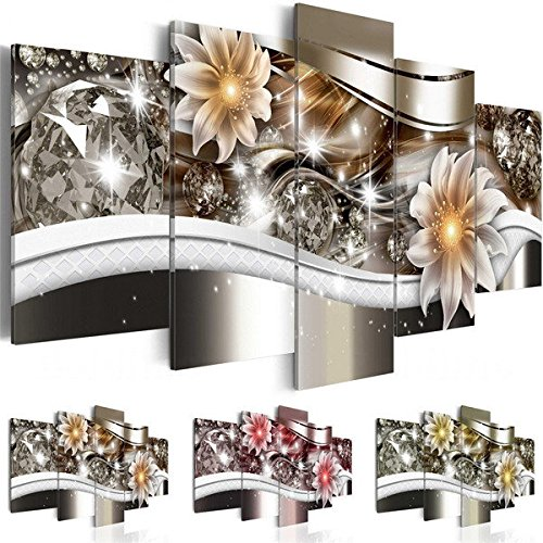 Bazaar 5PCS Diamond Flower Art Print Frameless Canvas Painting Wall Picture Home Decoration Big Bazaar
