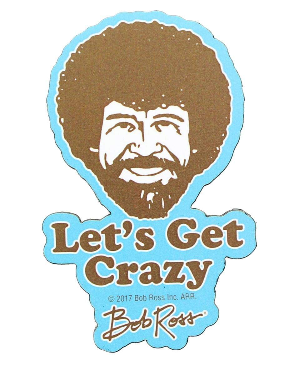 Bob Ross 3'' Funky Chunky Magnet:''Let's Get Crazy''