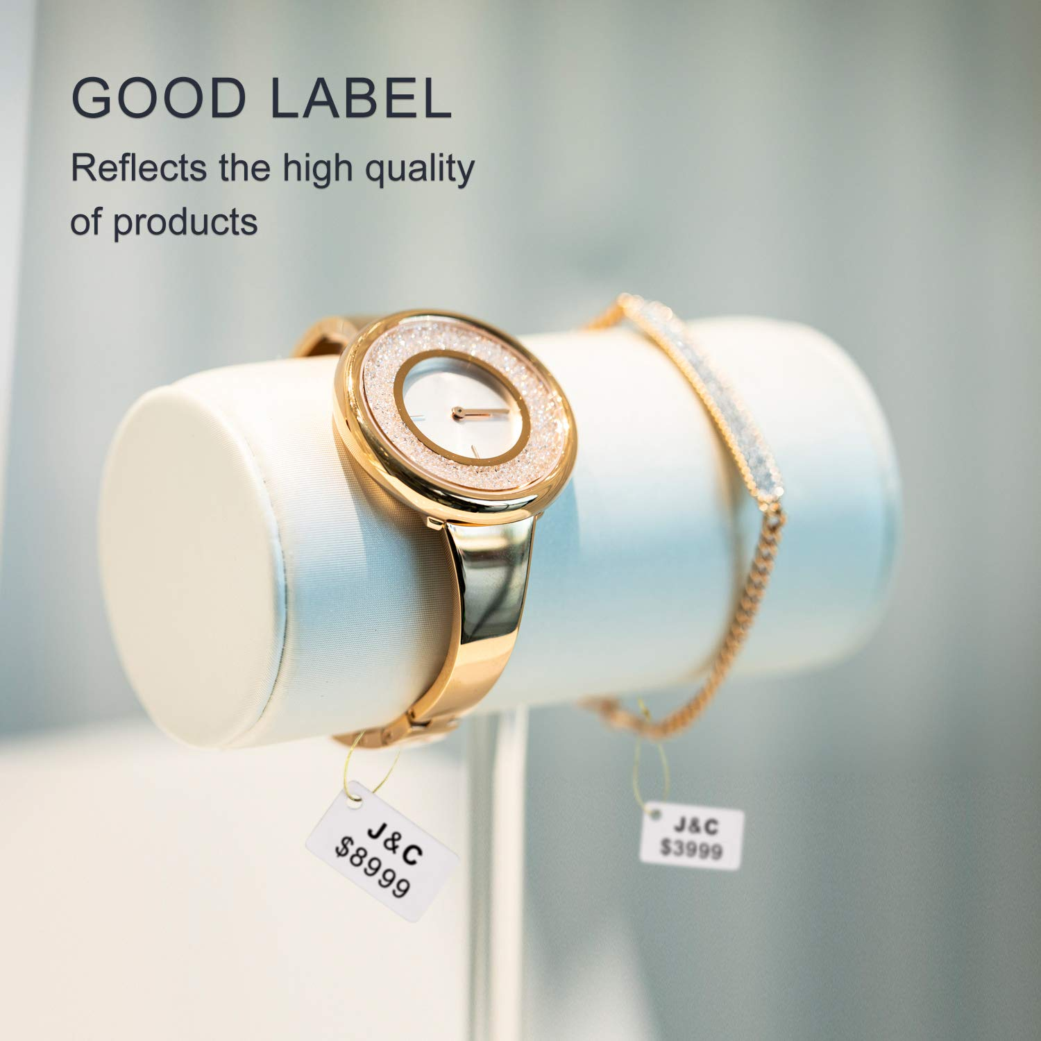 """JINGCHEN Thermal Label Paper Widely Used in Jewelry//Bracelets//Watches//Accessories//Glasses Label Printing 1.18""""x0.59""""+0.59"""",460 Labels//Roll Print with B11//B3"""