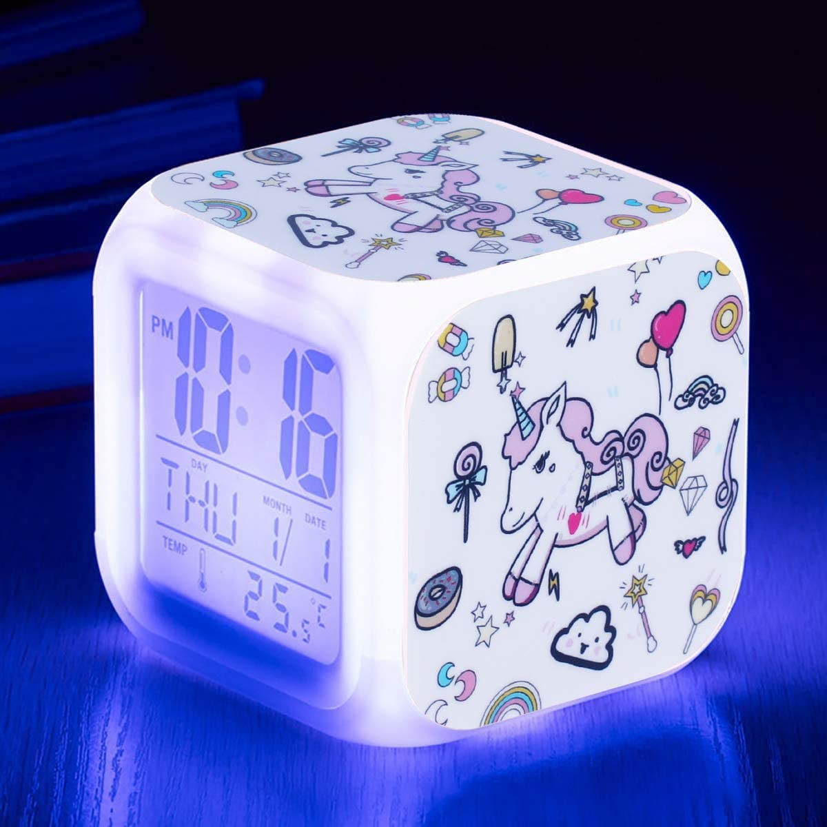 Qaxlry Unicorn Alarm Clocks,7-in-1 Night Light Kids Alarm Clocks with LED Glowing Bedroom Wake Up Alarm Clock Gifts for Unicorn Room Decor for Girls Bedroom (White)