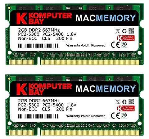 Komputerbay MACMEMORY Apple 4GB Kit (2x 2GB Modules) PC2-5300 667MHz DDR2 SODIMM iMac and Macbook Memory