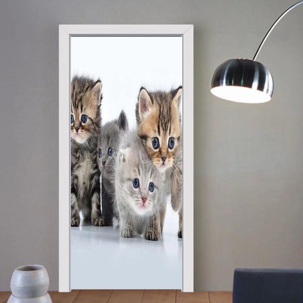 Gzhihine custom made 3d door stickers Kitten Animal Theme Walking Cute Little Kittens on White Background Digital Print Grey and White For Room Decor 30x79