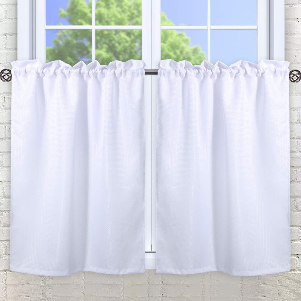 """30"""" x 36"""" Waffle Woven Textured Short Curtains Tiers for Kitchen Bedroom Bathroom Nursing Room Café Bookroom, Half Window Treatment Curtains, Water-Resistance, Rop Pocket Design, Set of 2, White"""