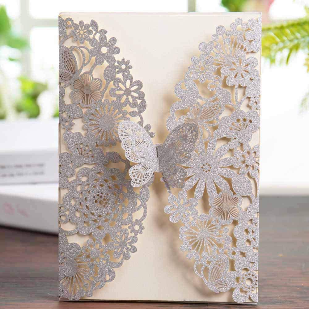 Amazon.com: Wishmade 50x Silver Glitter Laser Cut Wedding Invitations Cards  with Butterfly Lace Flower Design for Birthday Party Favors (Set of 50pcs):  Health & Personal Care