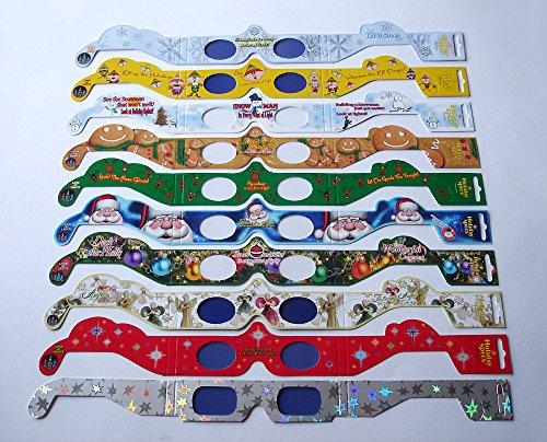 NEU: 10er-Set Weihnachtsbrillen mit Holo-Effekt! 10 x HoloSpex 3D Brillen zu Weihnachten: Engel, Stern, Schneemann, Weihnachtsstern, Rentier, Santa Claus, Schneeflocke, Elf, Gingerbread Man / 10 verschiedene Weihnachts-Motive