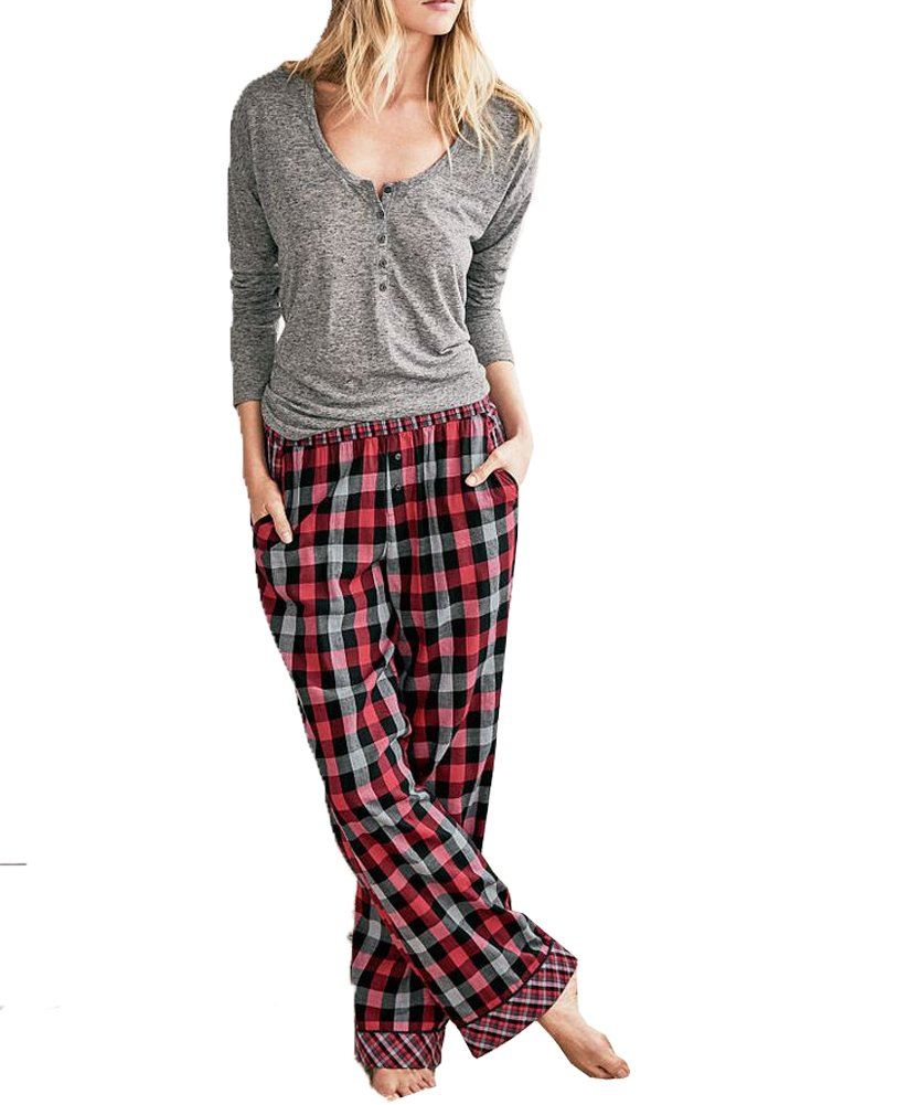 Victoria's Secret.. Women's The Dreamer Henley Red Plaid Pajama 2 Piece PJ Set Small