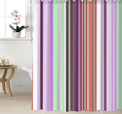 Amazon Shower Curtain 60x72 Vertical Stripes Decor Pink