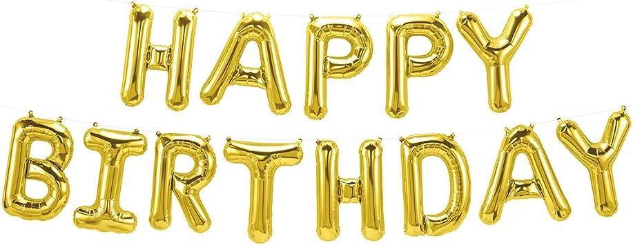Ballonfritz Luftballon Happy Birthday Schriftzug In Gold Xxl Folienballon Als Geburtstags Deko Begrüßung Party Geschenk Oder Fotorequisite
