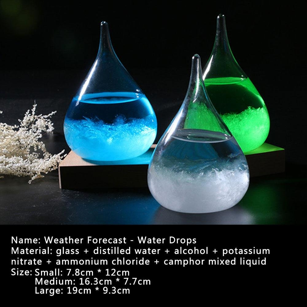 Christmas Birthday Gift Water Drops Multicolor Desktop Weather Forecast Predictor Bottle Crafts Barometer with Wooden Base Home Decoration Pawaca Creative Storm Glass Mini Blue