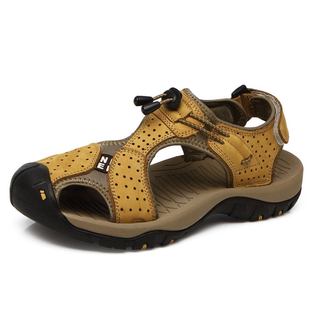 Zapatillas para Hombre Zapatillas de Playa de Cuero Genuino Sandalias Informales Respirable Antideslizante Suave Piso Cerrado Punta Cerrada,para los Hombres 39 EU|Yellow