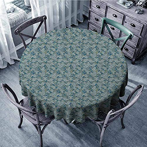 ScottDecor Overlays Round Tablecloth Jacquard Tablecloth Paisley,Persian Culture Inspired Teardrop Shape with Curved Tip Motif Floral Design, Dark Blue Beige Diameter 36