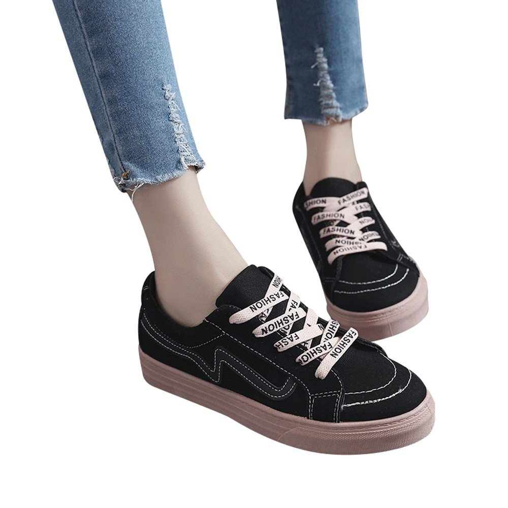 Shoes For Womens -Clearance Sale ,Farjing Fashion Women Flat Casual Shoes Vintage Board Shoes Student Canvas Shoes(US:6,Black )
