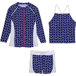 SwimZip Girls Long Sleeve Rash Guard Swim Shorts Set with UPF 50+,Flower Power,5