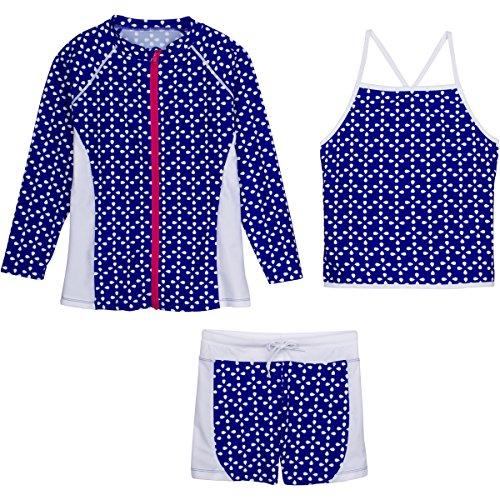 Flower Power Short - SwimZip Girls Long Sleeve Rash Guard Swim Shorts Set with UPF 50+,Flower Power,18-24 Months