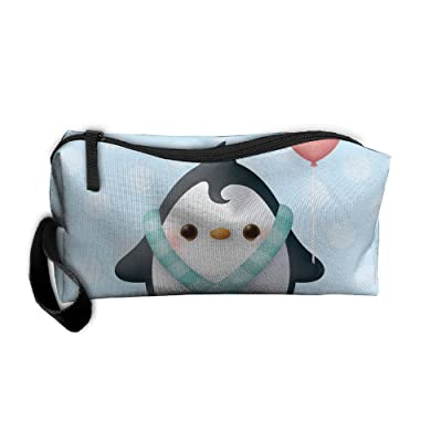Jewelry Bag For Women Cosmetics Case With Zipper Cartoon Penguins Travel