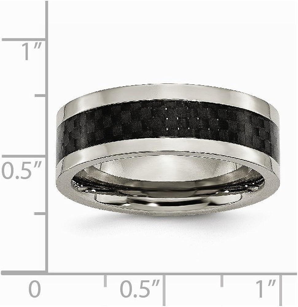 Brilliant Bijou Titanium 8mm Polished with Black Carbon Fiber Inlay Band