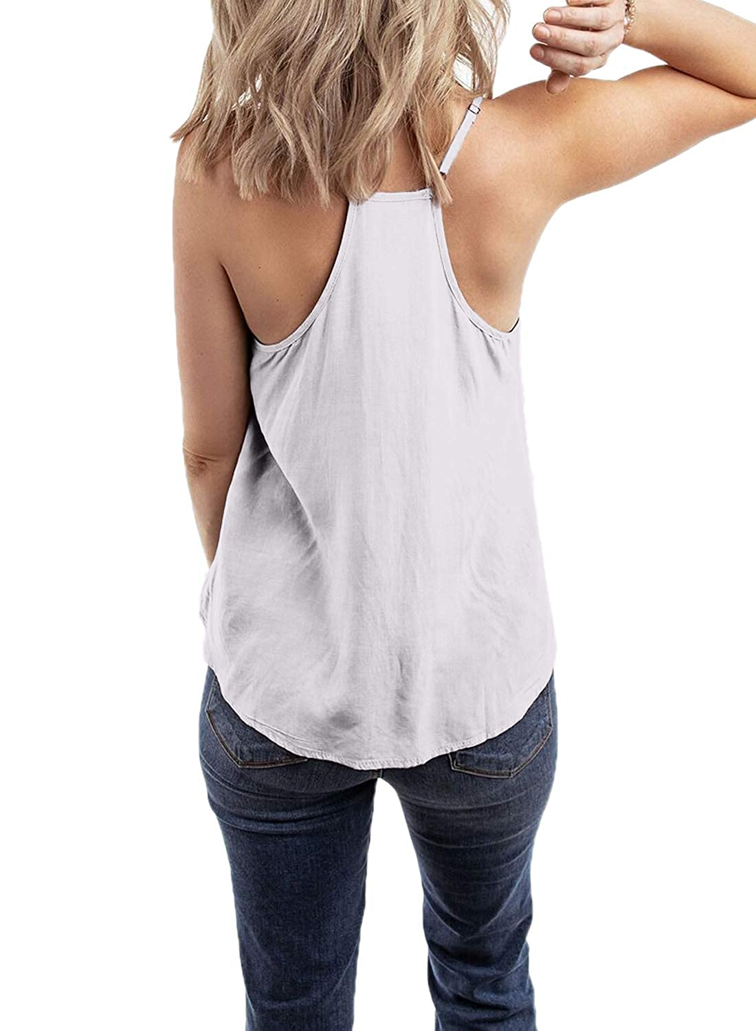 Asvivid Womens Summer Embroidered Sleeveless Cami Shirt Strappy V Neck Tank Tops Blouse S-2XL