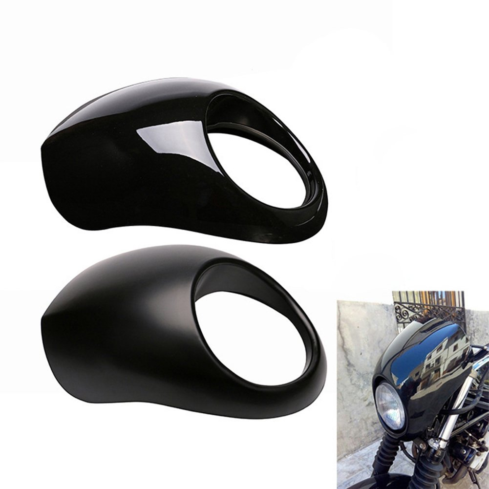 RONSHIN Per Harley Sportster Dyna 883 Motorcycle Front Headlight Cowl Fairing Retro Mask matte black