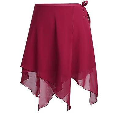 FEESHOW Mujer falda de ballet vestido de ballet tutú Irregular ...
