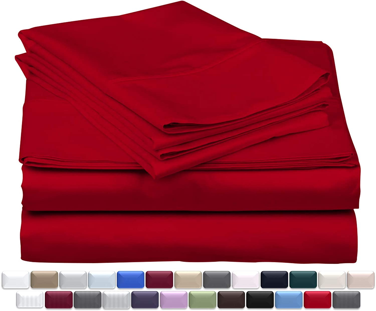 True Luxury 1000-Thread-Count 100% Egyptian Cotton Bed Sheets, 4-Pc King RED Sheet Set, Single Ply Long-Staple Yarns, Sateen Weave, Fits Mattress Upto 18'' Deep Pocket
