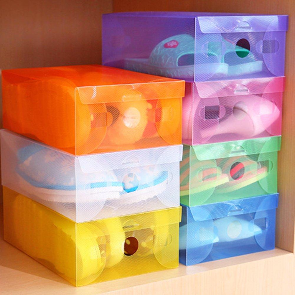Conjunto de 7 cajas transparentes plegables y de colores.