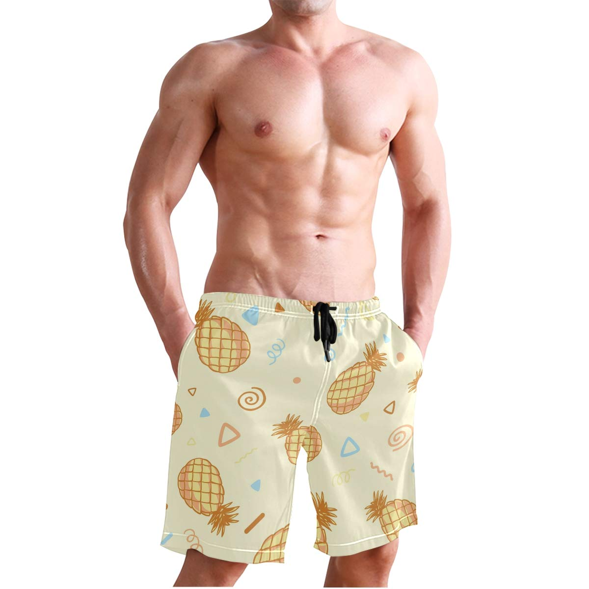 DEYYA Mens Bright Pineapple Fruits Swim Trunks Beachwear Summer Holiday Beach Shorts Quick Dry