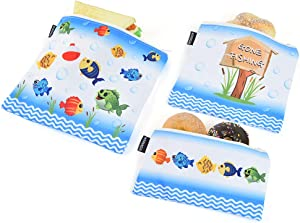 WERNNSAI Cloth Sandwich Bag - Set of 3 Fishing Food Bag Chips Snack Bags Dishwasher-safe Zipper Handy Food Storage Bags Pouches Reusable Grocery Bags